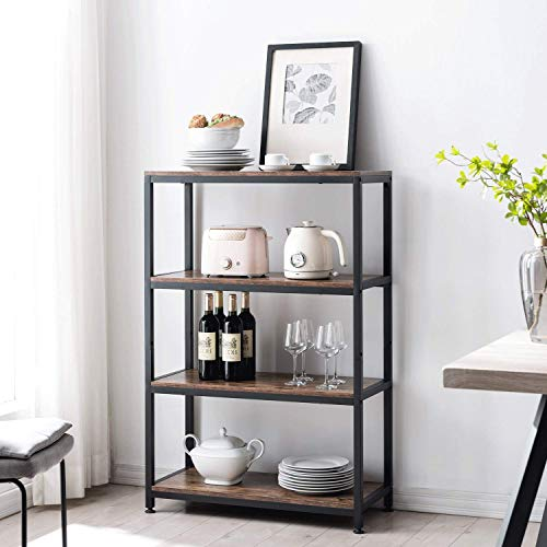AMOAK Industrial Bookshelf and Bookcase 4 Tier, Wood and Metal Bookshelves Storage Shelves for Home Office, Sturdy Easy Assembly, Retro Brown