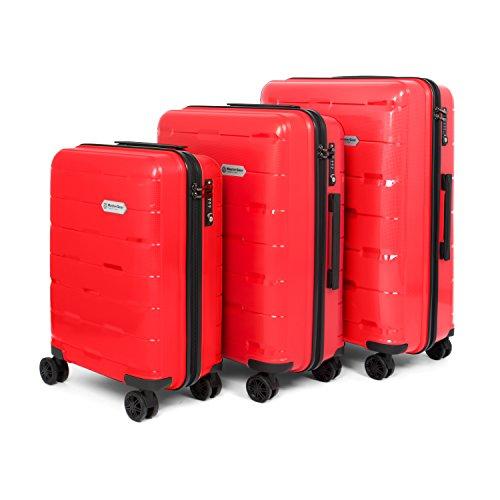 MasterGear Polypropylen Kofferset 3-teilig (S, M, L) in rot | Koffer Set mit 4 Rollen (360 Grad) | Trolley, Reisekoffer, TSA, stapelbar