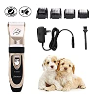 Kuoser Dog Clippers, Low Noise Pet Clippers Rechargeable Cordless Dog Trimmer Pet Grooming Tool Professional Dog Hair Shaver Kit with 4 Combs for Dogs Cats and Other Animals