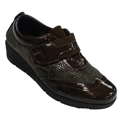 Zapatos Mujer Velcro Piel y Licra de Serpiente 48 Hours en marrón