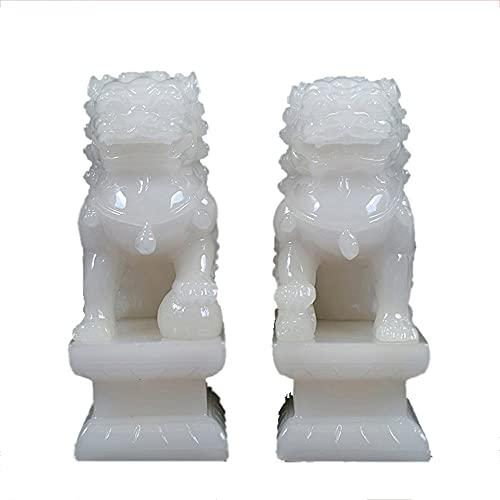 Un par de 4.33 en (h) Fu Foo Dogs Guardian Lion Estatuas Mejor congratulatoria para alejar para aliviar la energía del mal Feng Shui Decoración Símbolo de la riqueza y la prosperidad ( Color : White )
