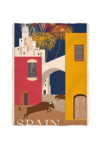 2k books Fleecedecke ca. 135 x 180 cm Spanien Reiseposter Vintage