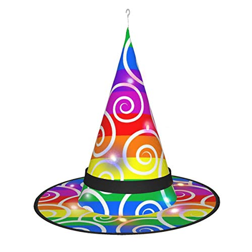 Abstract Colorful Swirls Halloween Witch Hat With Light Witch Costume For Halloween Party