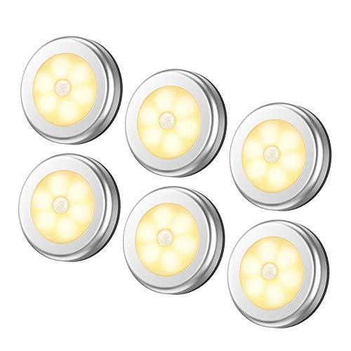 NARUJUBU Luz de sensor de movimiento de 6packs, luz de noche con batería sin cable Luz de noche, luces de armario luces de escalera, luces de puck para pasillo, baño, dormitorio, cocina, etc. (blanco