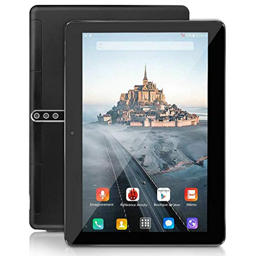 10 Zoll Android Tablet, Android 9.0, 5G Wi-Fi, 4GB RAM, 64GB ROM, Octa -Core Prozessor, IPS HD Display, 3G Phablet mit Dual SIM Card Slots, Bluetooth, 5000 mah Akku, GPS, E1 (schwarz)