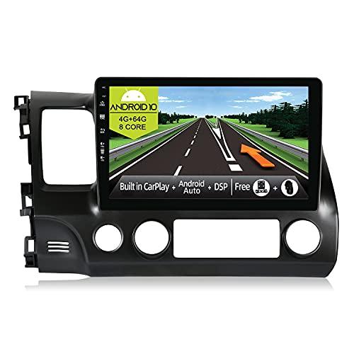 JOYX Android 10 Autoradio Compatibile Honda Civic (2006-2011) - [4G+64G] - [Built-in DSP/Carplay/Android Auto] - LED Camera MIC GRATUITI - BT5.0 DAB Volante 4G WiFi 360-Camera - 10.1 Pollici 2 Din