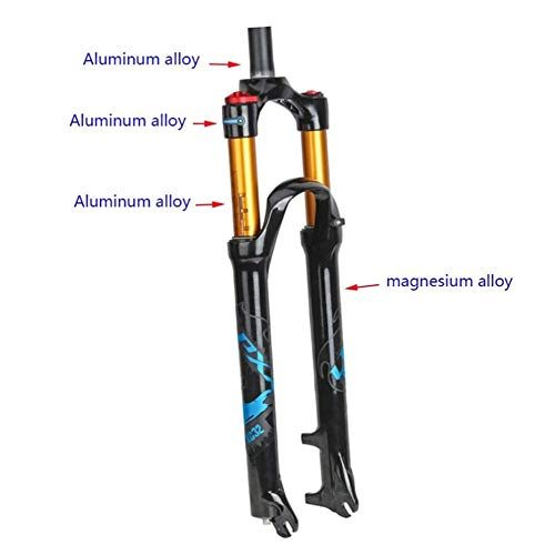 YIN Mountain Bike Suspension Forks Bike Front Fork 26 27.5 29 Inch, 1-1/8 ' Light Magnesium Alloy MTB Bicycle Air Fork Wire Control 100mm Front Suspension,Blue-26in