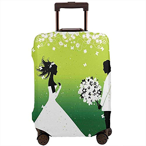 Travel Luggage Cover Groom Giving Bride Romantic Bouquet of Flowers Silhouettes in Love Suitcase Protector Size L