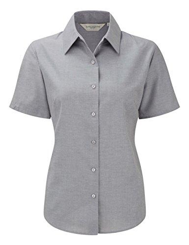 Damen-Bluse mit kurzen Ärmeln aus der Russell Collection Gr. L, silber