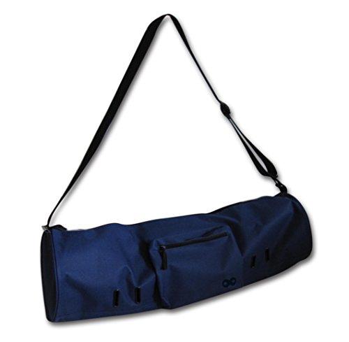 YogaAddict Yoga Mat - Bolso compacto con bolsillo, 28 'de largo, apto para la mayoría del tamaño de tapete, extra ancho, fácil acceso - Azul marino