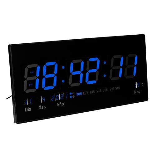JEVX Reloj Digital de Pared Grande para Colgar, Alarma, Iluminacion en Color Azul, Calendario, Medidor de Temperatura, Fuente de Alimentacion, Termometro