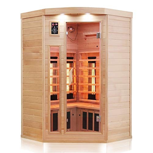 Dewello Infrarotkabine LAKEFIELD 140x140 DUAL-THERM für 2-3 Personen aus Hemlock Holz mit Vollspektrumstrahler