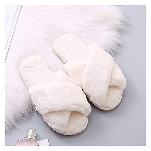 QUNHU Slides lanuginose da Donna Slifts per Le Pantofole da Donna in Pelliccia di Pelliccia di Pelliccia di Pelliccia Aperta Pantofole comode Cute per Ragazze (Color : White, Size : 36-37EU)