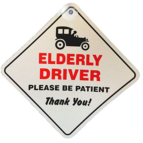 Elderly Driver Please Be Patient Window Sucker Sign, Blue, one Size, AMZ-SNL_UK_28839