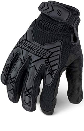 IRONCLAD Command Tactical Impact, Touch Screen Gloves Conductive Palm and Fingers, Impact Protection, Durable, Performance Fit, Machine Washable, Sized S, M, L, XL, XXL (1 Pair) (Large, Black)