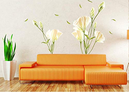 Sworna SN-003 Nature Series 47 x 55-Inch 3D Lily Flowers Removable Vinyl Wall Decor, X-Large, Green/Pink