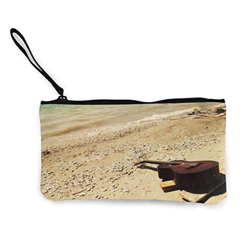 Gpedadf13 Unisexe Guitar_Sea_Beach_Music Porte-Monnaie en Toile à glissière, Trousse à Maquillage, Trousse pour téléphone Portable avec poignée