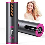 Cordless Auto Curler, Professional Fast Heating Ceramic Barrel with Adjustable Temperature & Timer