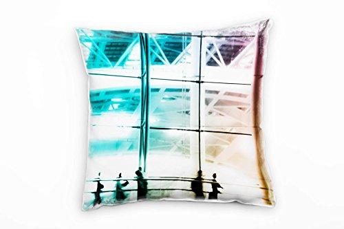 Paul Sinus Art Urban, blauw, abstract, beweging, onscherpe, decoratief kussen voor op de bank, bank, bank, lounge, sierkussen