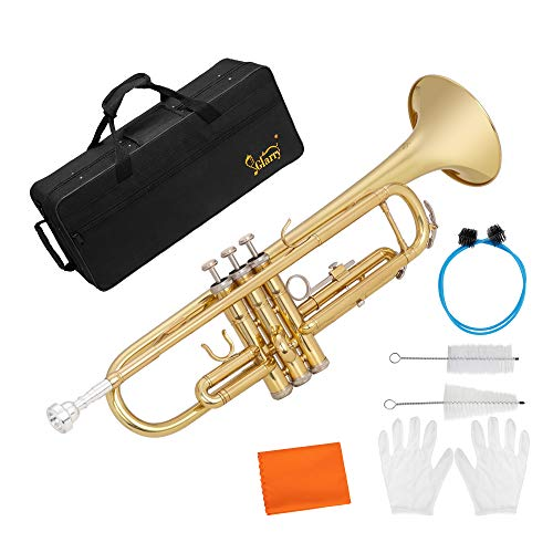 GLARRY Standard Trumpet Brass Gold Bb Trumpet for Students and beginners w/Hard Case, Gloves, 7C Mouthpiece and Trumpet Cleaning Kit (Gold)