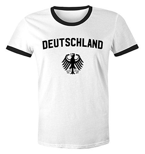 MoonWorks WM Shirt 2018 Fußball Deutschland Adler Wappen Herren Retro weiß-schwarz XXL