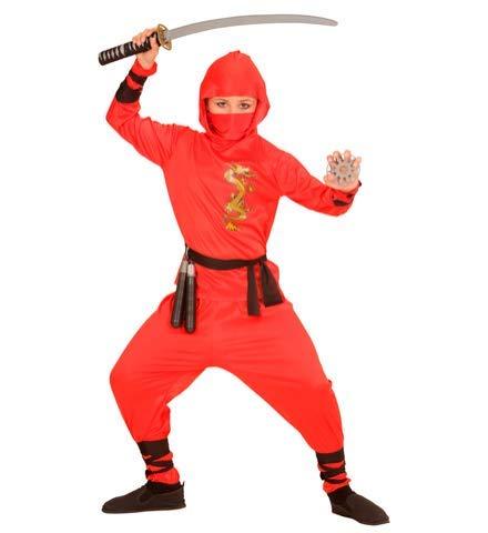 24costumes Ninja Kostüm Set | komplettes Kostüm + Katana Schwert | ideal für Kinder (Jungen & Mädchen) | perfekt für Karneval & Fasching: Größe: 128 - Modell: Rot-Schwarz + Katana