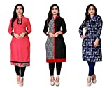 Dharmi Trendz Women's A-Line Crepe Printed Semi-Stitched Kurti Material (1023,24,25,38,53, Pink, Free Size) - Pack of 5