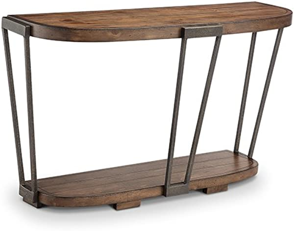 Magnussen Yukon Entryway Table In Bourbon And Aged Iron
