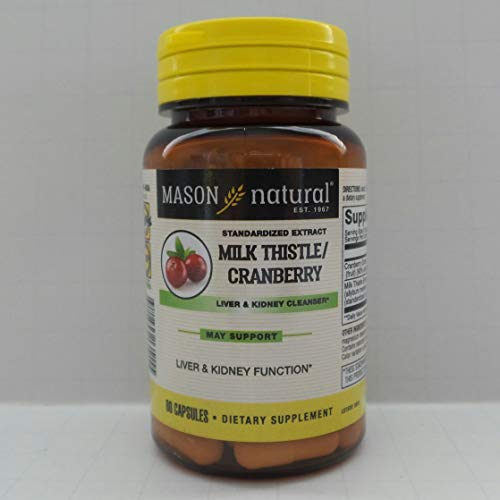 Mason Vitamins Milk Thistle/Cranberry Liver and Kidney Cleanser Capsules, 60 Count
