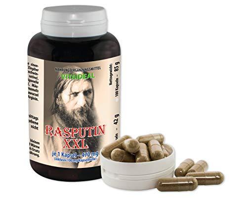 RASPUTIN - XXL 90 Kapseln je 350 mg. reines Pulver von ( Schisandra Ginseng Taigawurzel Traubenextract Bockshornklee ...) ohne Zusatzstoffe. HGK (vom Rind) je 100mg.
