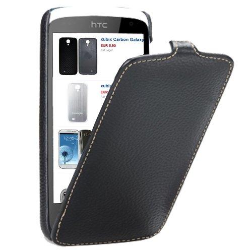 xubix Superdünn PREMIUM Leder Flip Hülle HTC Desire 500 Tasche schwarz