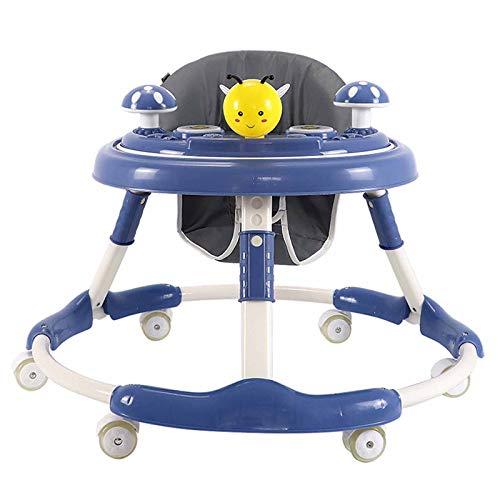 XJY 1Andador Bebe Niño Niña Actividades Primeros Pasos, Juguete Luz Luces Caminador Plegable Alturas Regulables Antivuelco- Baby Walker, Desmontable Pequeños Mesa Juego Bandeja Infantil Coche,Azul