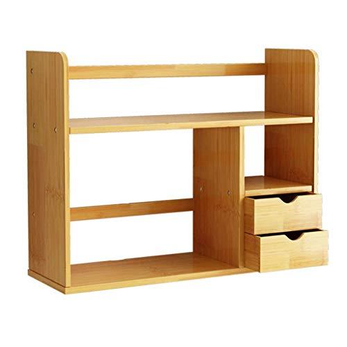 Bookcases Bookshelf Escritorio estantería Estudiante simple de bambú Estante con 2 cajones de escritorio de pantalla Montaje del soporte de escritorio de acabado verdadera naturales en la Plataforma L