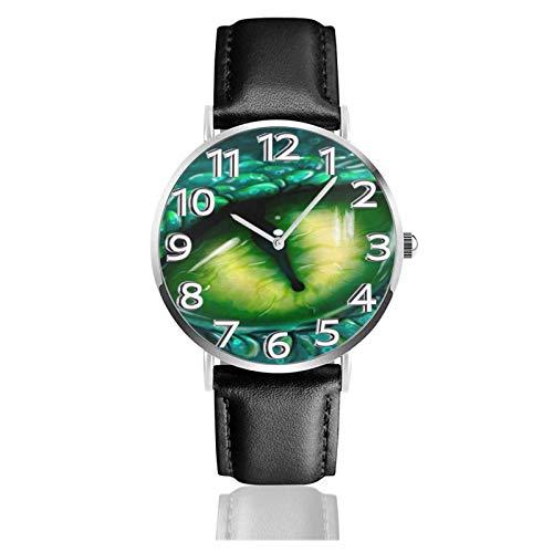 Reloj de Pulsera Dinosaurio Ojo Verde Verde Durable PU Correa de Cuero Relojes de Negocios de Cuarzo Reloj de Pulsera Informal Unisex