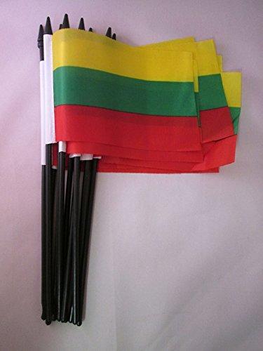 AZ FLAG Bandera de Lituania 15x10cm con Palo - Lote de 10 Bandera LITUANA 10 x 15 cm Poliester Ligero