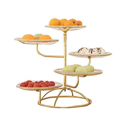 Présentoir à fruits à 5 étages - Pour plus de place sur le plan de travail - Corbeille à fruits pour le salon, la maison, les fruits secs et délicats - Assiette à goûter (or)