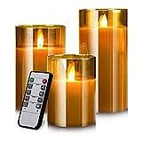 YMing Led Kerzen Flackernde Flamme, Realistisch LED Flammen, Echte Wachssäulenkerzen im Goldglas, Fernbedienung mit Timerfunktion, Größe 10 cm / 12,5 cm / 15 cm Hoch, 7,5 cm Durchmesser