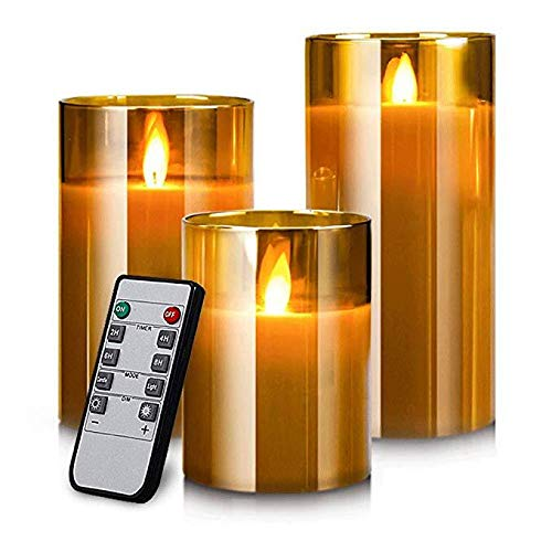 YMing Gold Glass Battery Operated Candles with Timer and 10-Key Remote, Flameless LED Real Wax Warm Light Candles Flickering for Wedding Festival Home Christmas Decoration (Set of 3) [Energy Class A+]