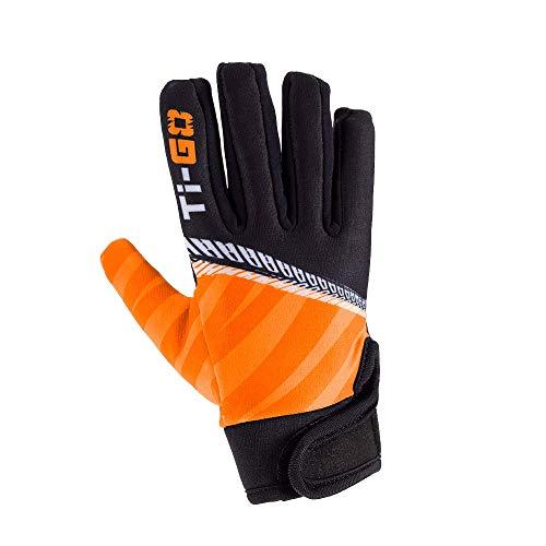 TiGO Kids Warm Long Finger Cycling Gloves For Boys Children Junior Girls Full Finger Padded Palm Glove Mountain Bike BMX Sports Outdoors Anti Slip Grip Turbo Orange 2-3 Years