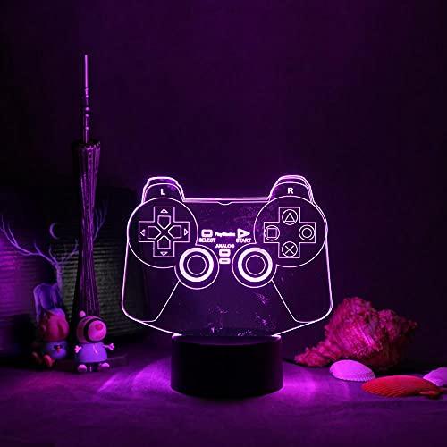 LUOXIA - Luz nocturna LED 3D para juegos o habitación de juegos en 3D, decoración de escritorio, sensor de logotipo, para niños, regalo de 7 colores