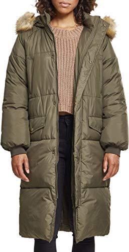 Urban Classics Damen Ladies Oversize Faux Fur Puffer Coat Jacke, Mehrfarbig (Darkolive/beige 01481), Medium
