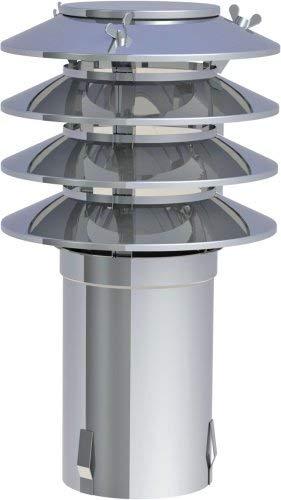 Lamellenaufsatz HUBO 4 Lamellen Schornsteinaufsatz Edelstahlschornstein Kamin Regenhut Nenndurchmesser (Innen) Hubo1E-200