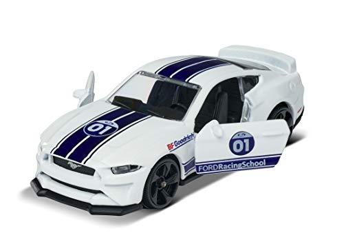 Majorette 212084009Q15 Racing Ford Mustang GT - Coche de Juguete, Rueda Libre, Piezas de Apertura, 7,5 cm, Color Blanco/Azul, para niños a Partir de 3 años