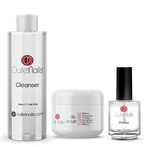 UV Gel Trifasico 3en1 50ml + Primer 15ml sin acido + Limpiador para uñas 100ml Cherry | Para uñas de gel de Outlet Nails