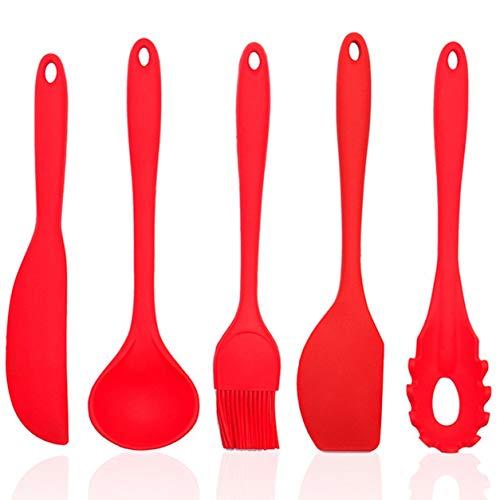 Color Yun Juego de Utensilios de Cocina de Silicona, 5 Piezas/Juego de Utensilios de Cocina de Grado alimenticio para sartenes antiadherentes, Utensilios de Cocina (Rojo)