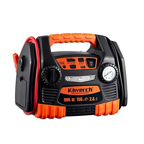 Kinverch BatteryJump Starter 900 Peak 9AH Portable Power Station with Air Compressor/ Tire Inflator &USB Port/12V Power Ports