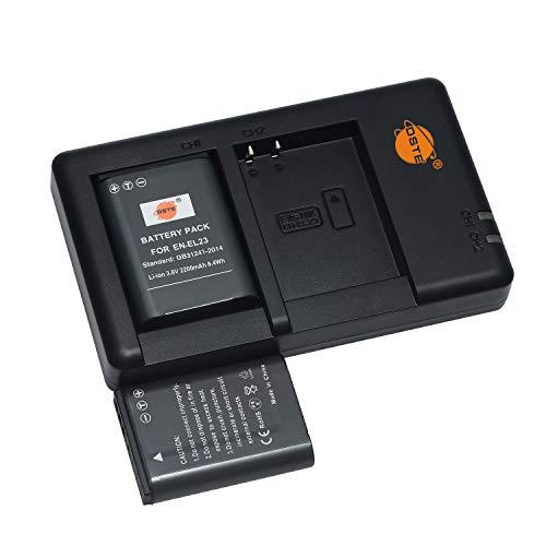 EN-EL23 (2 Stück) Wiederaufladbarer Akku Ersatzakku und Dual Ladegerät Kompatibel mit Nikon Coolpix P600, P610, P610s, P900, P900s, S810c, B700