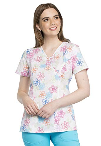 CHEROKEE Mock Wrap Scrub Top, M, Floral Stitches