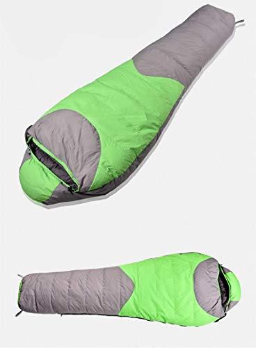 FKB@ED Schlafsack für Erwachsene, Schlafsäcke für Camping Warme, leichte, gespleißte Umschlagschlafsäcke mit Kompressionssack Ideale Ausrüstung für Rucksacktouren/Grün / 2KG