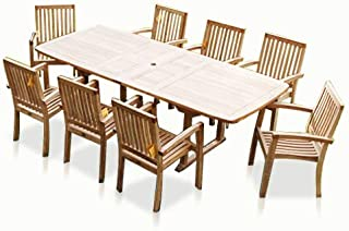 New 9pc Grade-A Teak Outdoor Dining Set-one Double Extension Table & 8 Patara Stacking Arm Chairs